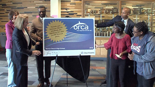 Mayor Durkan celebrates free ORCA cards for high school students at Rainier Beach