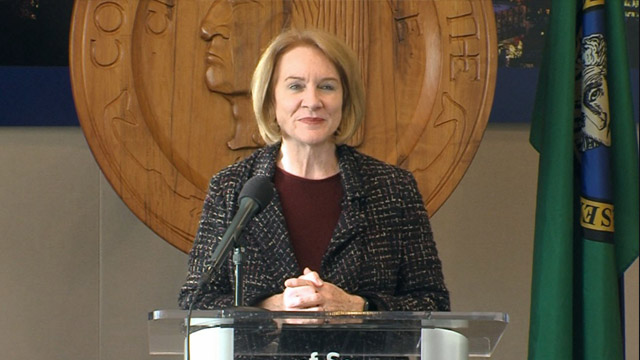 Mayor Durkan holds a media briefing to discuss the first full commute of the Seattle Squeeze