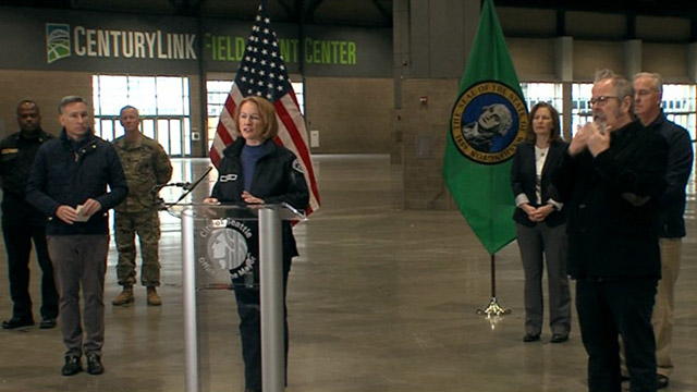 Local & state leaders discuss field hospital deployment at CenturyLink