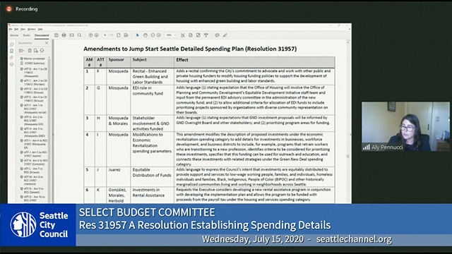 Select Budget Committee Session I 7/15/20