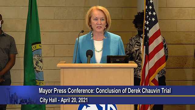 Mayor Durkan, Chief Diaz, Chief Scoggins, & community leaders remark on Derek Chavin trial verdict